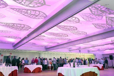 salon con iluminación en morado de bodas