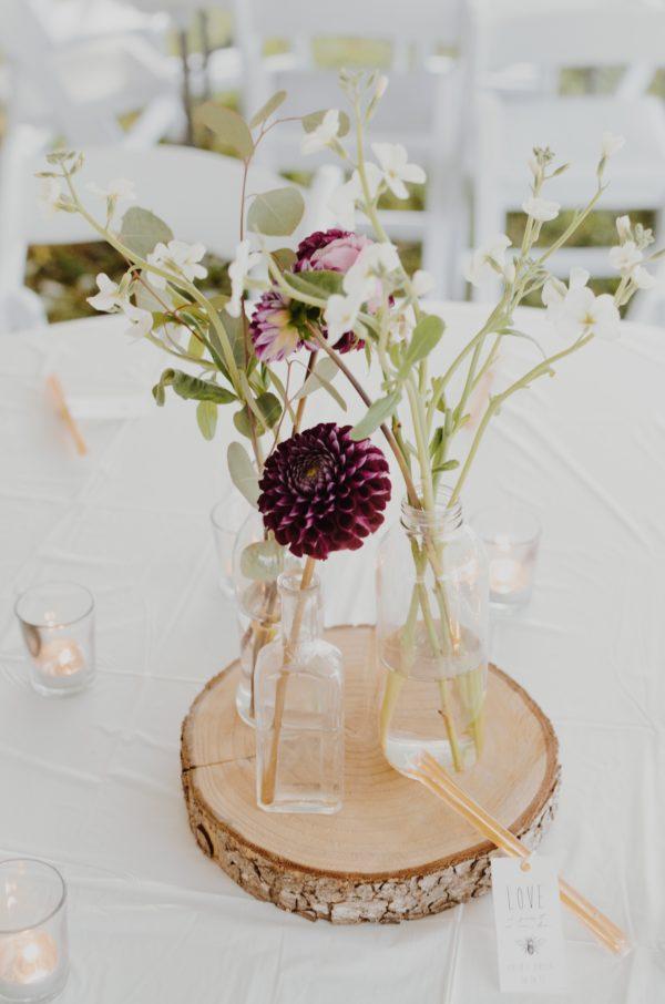 Centro de flores para bodas shabby chic